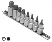 Set capete chei tubulare cu profil hexagon exterior HX4-HX17/8 piese cu sina 1/2 7190HHXP8