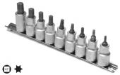 Set capete chei tubulare cu profil TORX TX20-TX60/ 9 piese cu sina 1/2